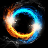 Fire and Ice. A round sign on a black background