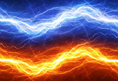 Fire and ice abstract fractal lightning. Clash of the elements, fire versus ice Royalty Free Stock Photo