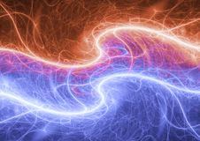 Fire and ice abstract fractal lightning. Plasma electrical background Royalty Free Stock Images