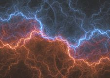 Fire and ice abstract fractal lightning. Plasma electrical background Royalty Free Stock Photography