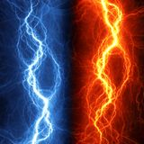 Fire and ice abstract lightning Stock Photo