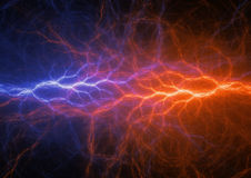Fire and ice. Abstract lightning background, clash of the elements Royalty Free Stock Photography