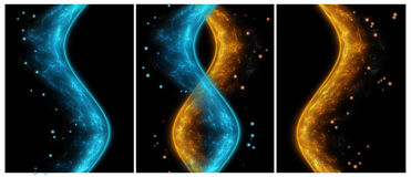 Fire ice abstract smoke, triptych Stock Photography