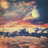 Fire and ice. Another world horizons. NASA imagery used Royalty Free Stock Photography
