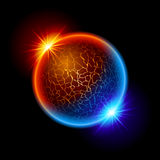 Fire and ice ball planet Stock Photo