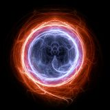 Fire and ice circle plasma and energy electrical lightning. Background Royalty Free Stock Image