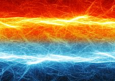 Fire and ice electrical discharge. Fire and ice abstract lightning background Stock Image