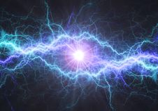 Fire and ice electrical lightning bolt. Plasma and electric power background Stock Image