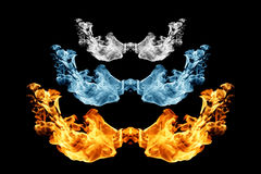Fire and ice , Fire flame and smoke on black. Background Royalty Free Stock Photo