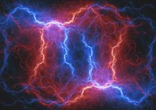 Fire and ice fractal lightning. Plasma and energy lightning Royalty Free Stock Images
