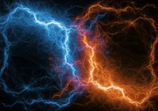 Fire and ice fractal lightning. Plasma and energy lightning Royalty Free Stock Photos