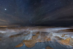 Fire and Ice. A geothermal pool in iceland on a frozen winter landscape with stars lighting up the sky Royalty Free Stock Photos