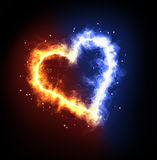 Fire ice heart Stock Photos