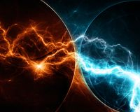 Fire and ice lightning. Abstract background, Fire versus ice lightning, Nature elements Stock Photos