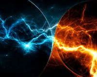Fire and ice lightning Royalty Free Stock Images