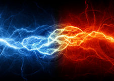 Fire and ice lightning. Fire and ice abstract fractal lightning Stock Images