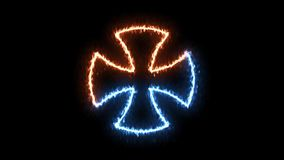 Fire and ice maltese cross symbol on transparent background. stock video