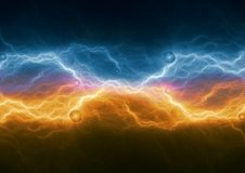 Fire and ice plasma electrical lightning. Abstract power background Royalty Free Stock Photos