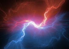 Fire and ice plasma lightning. Abstract electrical background Royalty Free Stock Photo