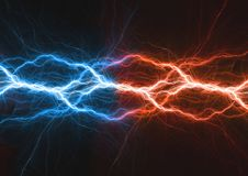 Fire and ice plasma lightning bolt. Power and energy Stock Image