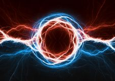 Fire and ice plasma power. Electrical lightng bolt Stock Photography