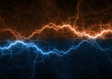 Fire and ice plasma power. Electrical lightng bolt Stock Photos