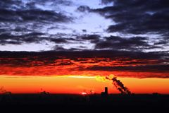 Fire and ice in the sky of Moscow stock photography