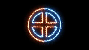 Fire and ice solar cross symbol on transparent background. stock video footage
