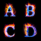Fire and ice text,capital letter, A to D alphabet. The set of Illustration of fire alphabet from A to D Royalty Free Stock Photo