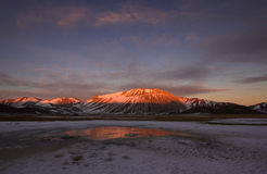 Fire and ice on wild land. Stock Photos