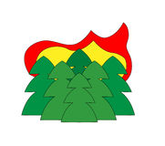Fire icon. Forest in fire. Vector icon Stock Photography