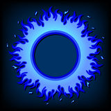 Fire icon. Blue fire frame, icon, on dark background Royalty Free Stock Photos