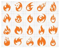 Fire icon. Set of various fire elements. Vector illustration Royalty Free Stock Photography
