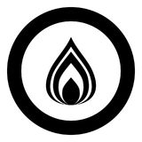 Fire icon black color in circle. Vector illustration isolated Royalty Free Stock Image