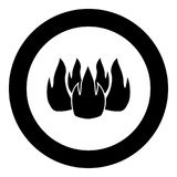 Fire icon black color in circle. Vector illustration isolated Royalty Free Stock Photo