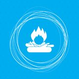 Fire Icon on a blue background with abstract circles around and place for your text. Illustration Stock Photos