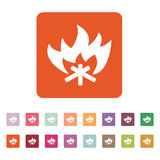 The fire icon. Bonfire symbol. Flat. Vector illustration. Button Set Royalty Free Stock Images
