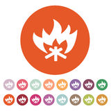 The fire icon. Bonfire symbol. Flat. Vector illustration. Button Set Royalty Free Stock Photos