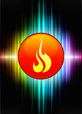 Fire Icon Button on Abstract Spectrum Background. 
