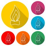 Fire icon, color icon with long shadow. Simple vector icons set Royalty Free Stock Images