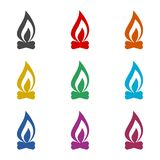 Fire icon, color icons set. Simple vector icon Royalty Free Stock Photo