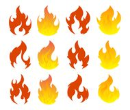 Fire icon set. Design element. 12 fire icon design element on white background Stock Images