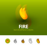 Fire icon in different style. Fire color icon, vector symbol in flat, outline and isometric style  on blur background Royalty Free Stock Photo