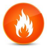 Fire icon elegant orange round button Stock Image