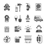 Fire Icon Flat. Black set with water hydrant alarm firefighter helmet isolated vector illustration Stock Photos