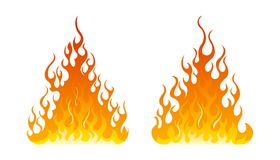 Fire icon set. Design element. 2 fire icon with flat bottom design element on white background Stock Images