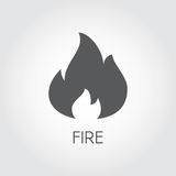 Fire icon in flat style. Flame gas black pictogram on gray background. Vector illustration for your design projects Royalty Free Stock Images
