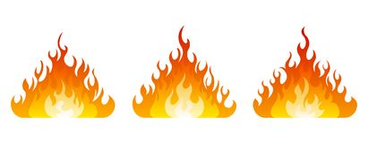 Fire icon set. Design element. 3 fire icon with flatten bottom design element on white background Stock Photography