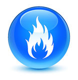 Fire icon glassy cyan blue round button Royalty Free Stock Image