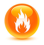 Fire icon glassy orange round button. Fire icon isolated on glassy orange round button abstract illustration Stock Photography